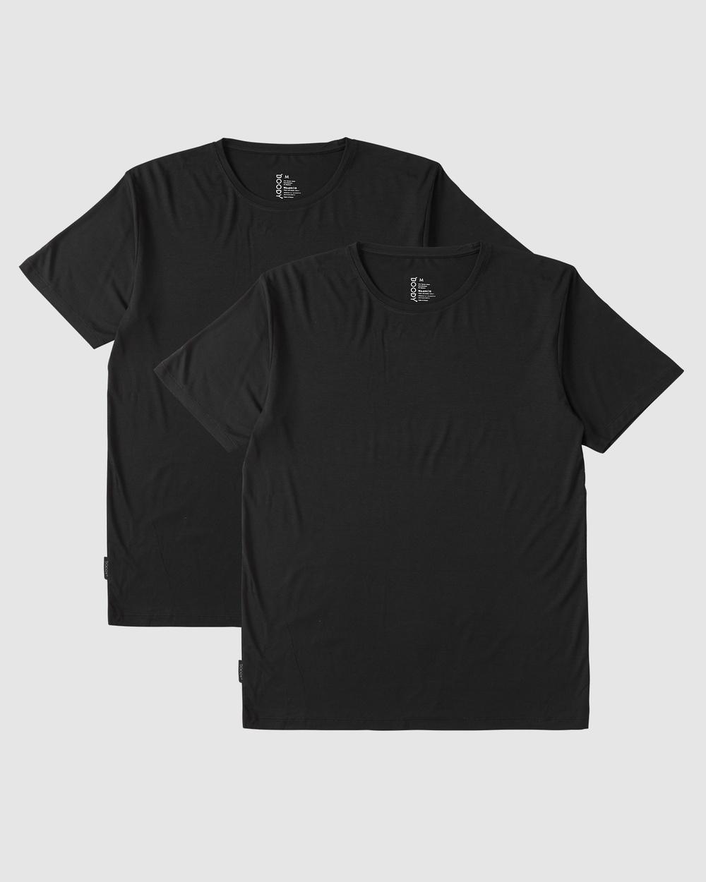 Boody Organic Bamboo Eco Wear - 2 Pack Crew Neck T Shirt - Short Sleeve T-Shirts (Black) 2 Pack Crew Neck T-Shirt