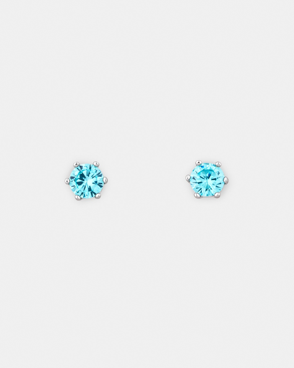 Michael Hill Stud Earrings with Aqua Cubic Zirconia in Sterling Silver Jewellery Sterling Silver