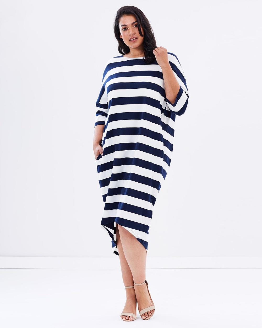 Advocado Plus Cocoon Dress Dresses Navy Stripe Cocoon Dress
