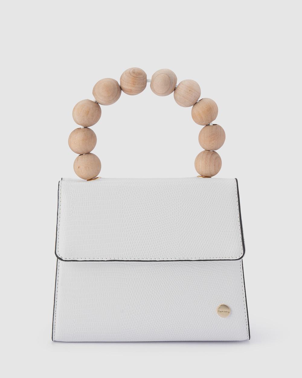 Olga Berg Caylee Wood Bead Handle Bag Handbags White Handbags Australia