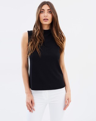 Forcast – Sienna Funnel Neck Top Black