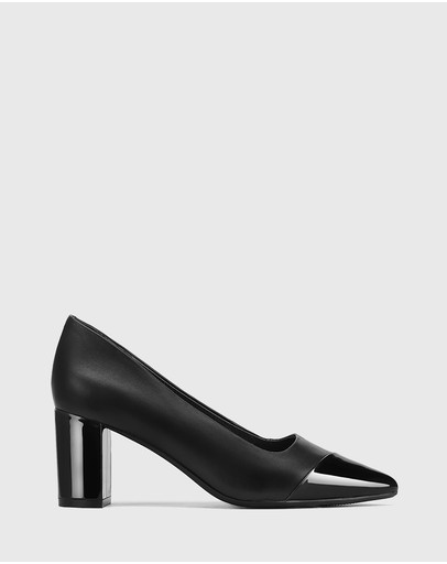 Wittner - Dashing Leather With Patent Toe Block Heel Pumps
