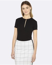 Oxford - Sophie Short Sleeve Keyhole Top