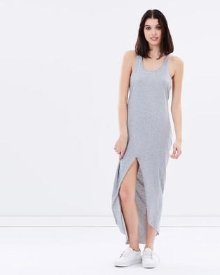 First Base – Cut Up Tank Dress – Dresses (Grey Marle)