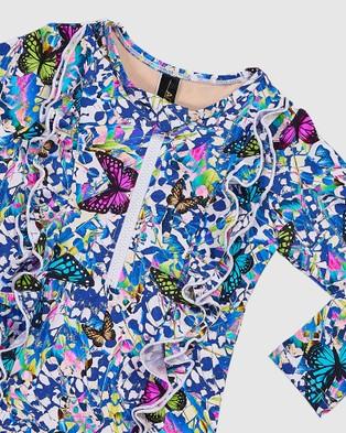 Aqua Blu Kids Mariposa Frill Long Sleeve One Piece   Babies - One-Piece / Swimsuit (Mariposa)