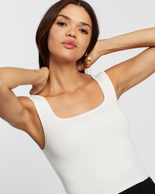 AERE Luxe Basics Square Neck Top - Tops (Ivory)