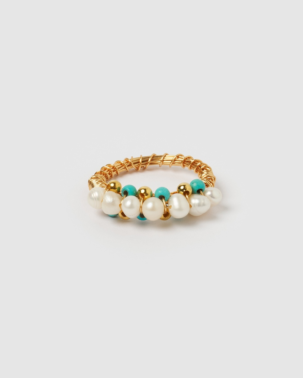 Miz Casa and Co Melanie Ring Jewellery Gold Turquoise Pearl