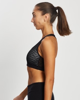AVE Activewoman Leopard Mesh Racer Back Sports Bra - Crop Tops (Black)
