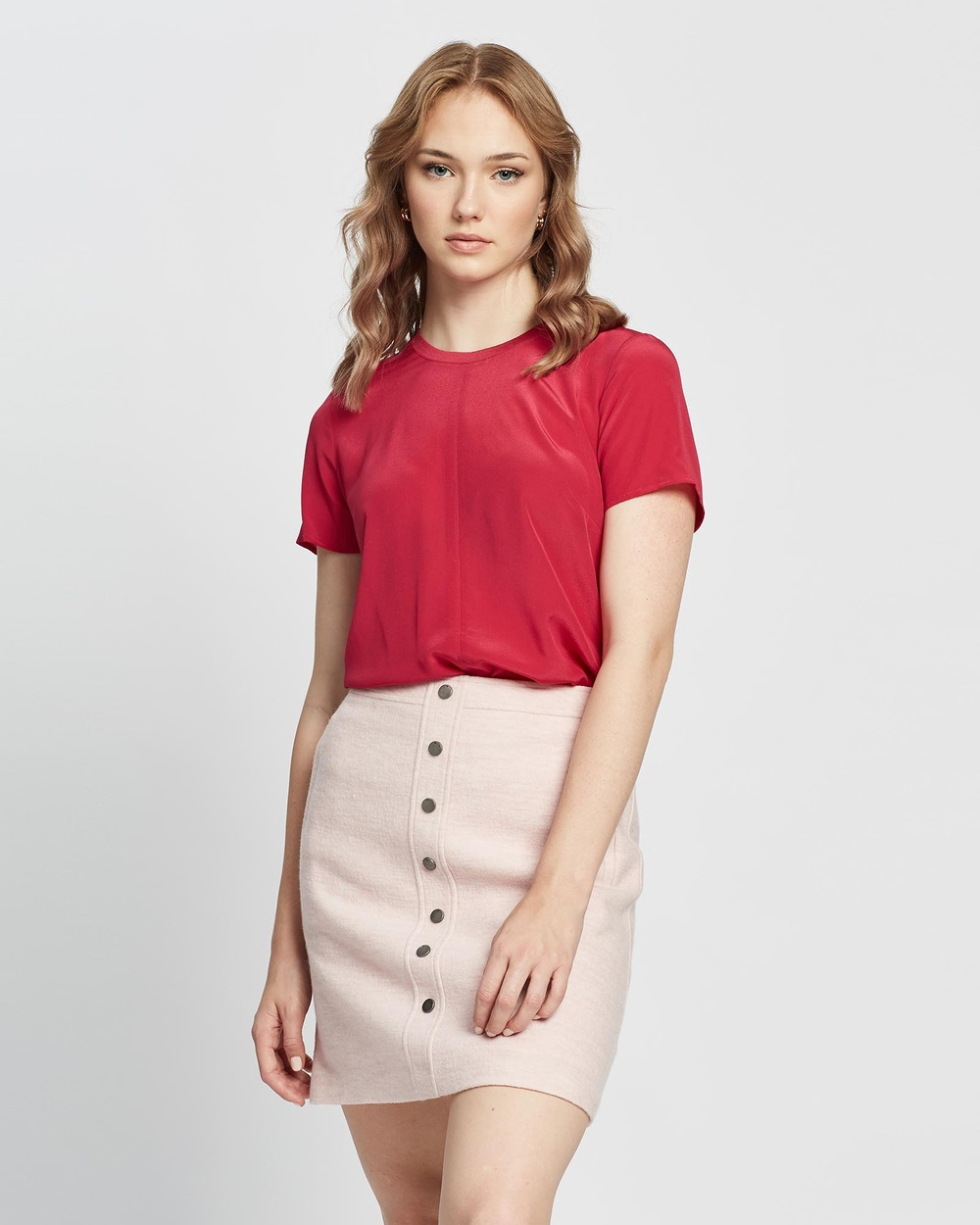 Marcs - On The Clock Silk Jersey Tee - Tops (Raspberry) On The Clock Silk Jersey Tee