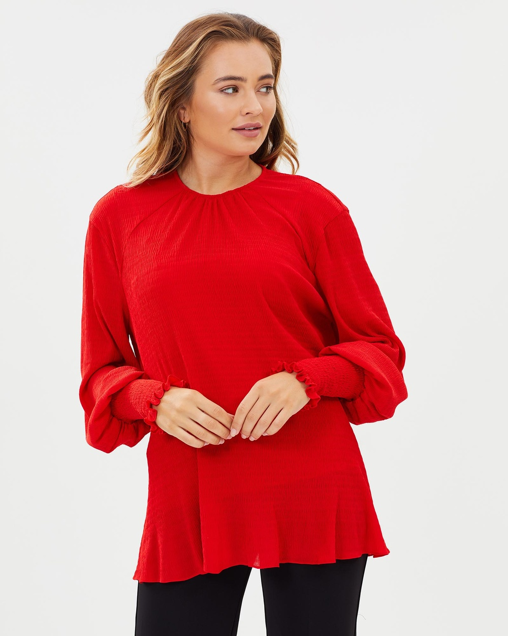 Cooper St Ti Amo Long Sleeve Top Tops Poppy Red Ti Amo Long Sleeve Top