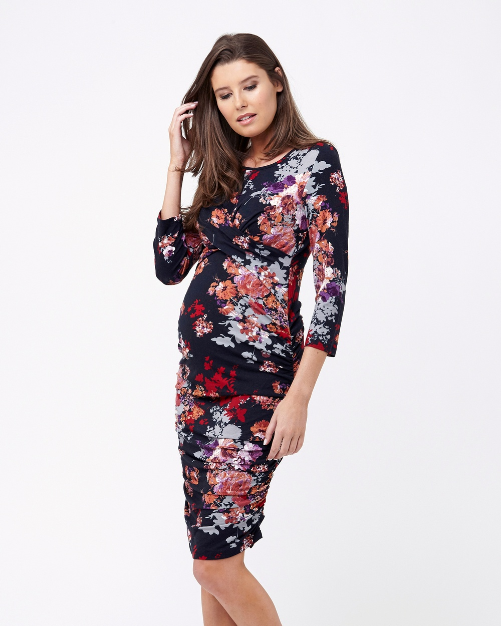 Ripe Maternity Blossom Cross Your Heart Dress 3 4 Sleeve Bodycon Dresses Navy Blossom Cross Your Heart Dress 3-4 Sleeve