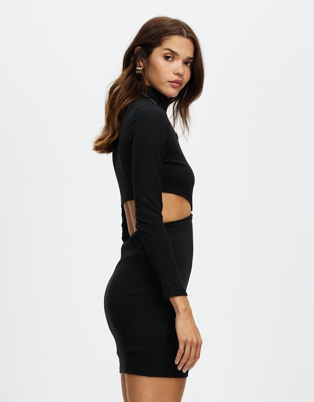 Women Long Sleeve Cut Out Mini Dress