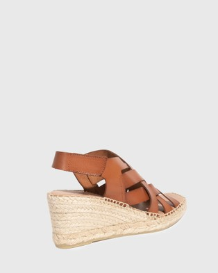 Wittner Utari Leather Woven Strap Espadrille Wedges - Wedges (Tan)