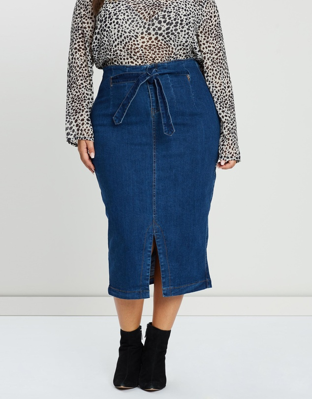 a8fdf59f8 Longline Denim Skirt by Lost Ink Plus Online | THE ICONIC | Australia