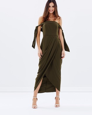 Shona Joy – Tie Shoulder Bustier Dress Khaki
