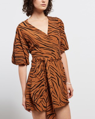 Faithfull The Brand Marissa Wrap Dress - Printed Dresses (Animal Print)