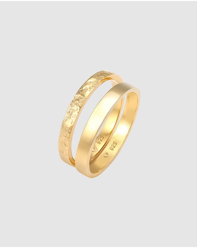 Elli Jewelry - Ring 2 pcs Set Bandring Basic Look in 925 Sterling Silver Gold Plated