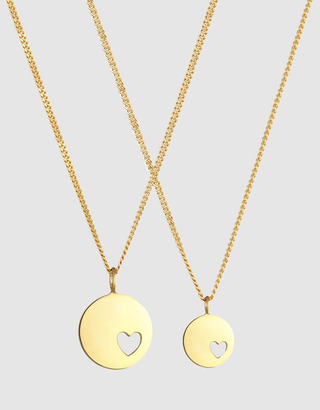 Women Necklace Plate Heart Mother Daughter in 925 Sterling Silver Gold Plated
