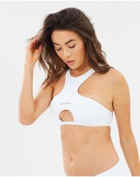 CK Swim - Zip Back Crop Top with Removable Padding