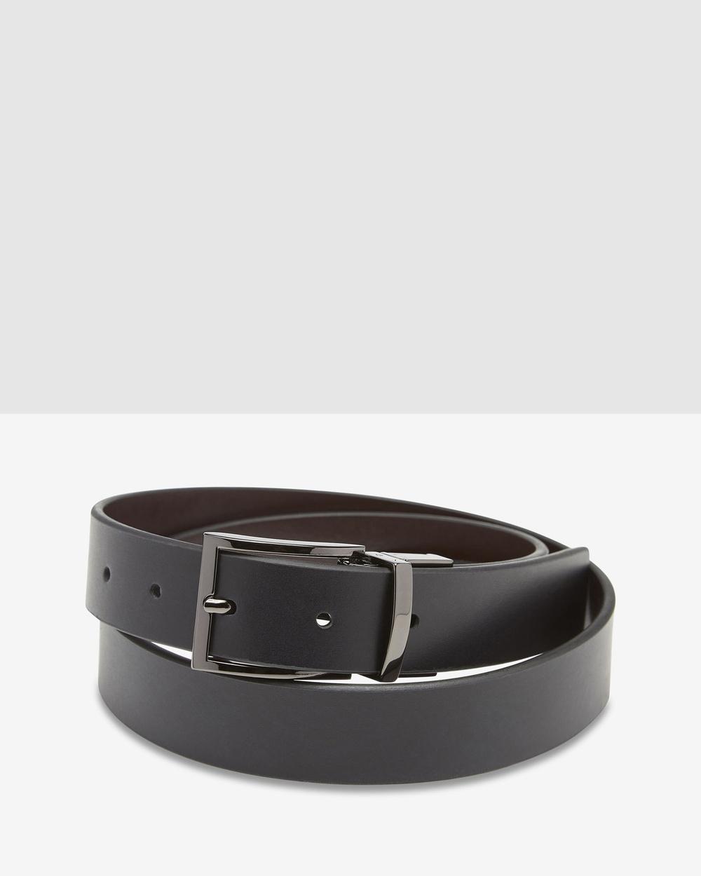 Oxford Carson Leather Reversible Belt Belts Black/Brown