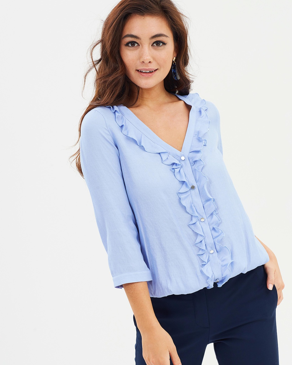 Wallis Chambray Blouson Tops Light Blue Chambray Blouson
