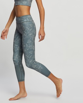 Dharma Bums - Recycled High Waist Printed 7 8 Leggings 7/8 Tights (Ponzu) 7-8