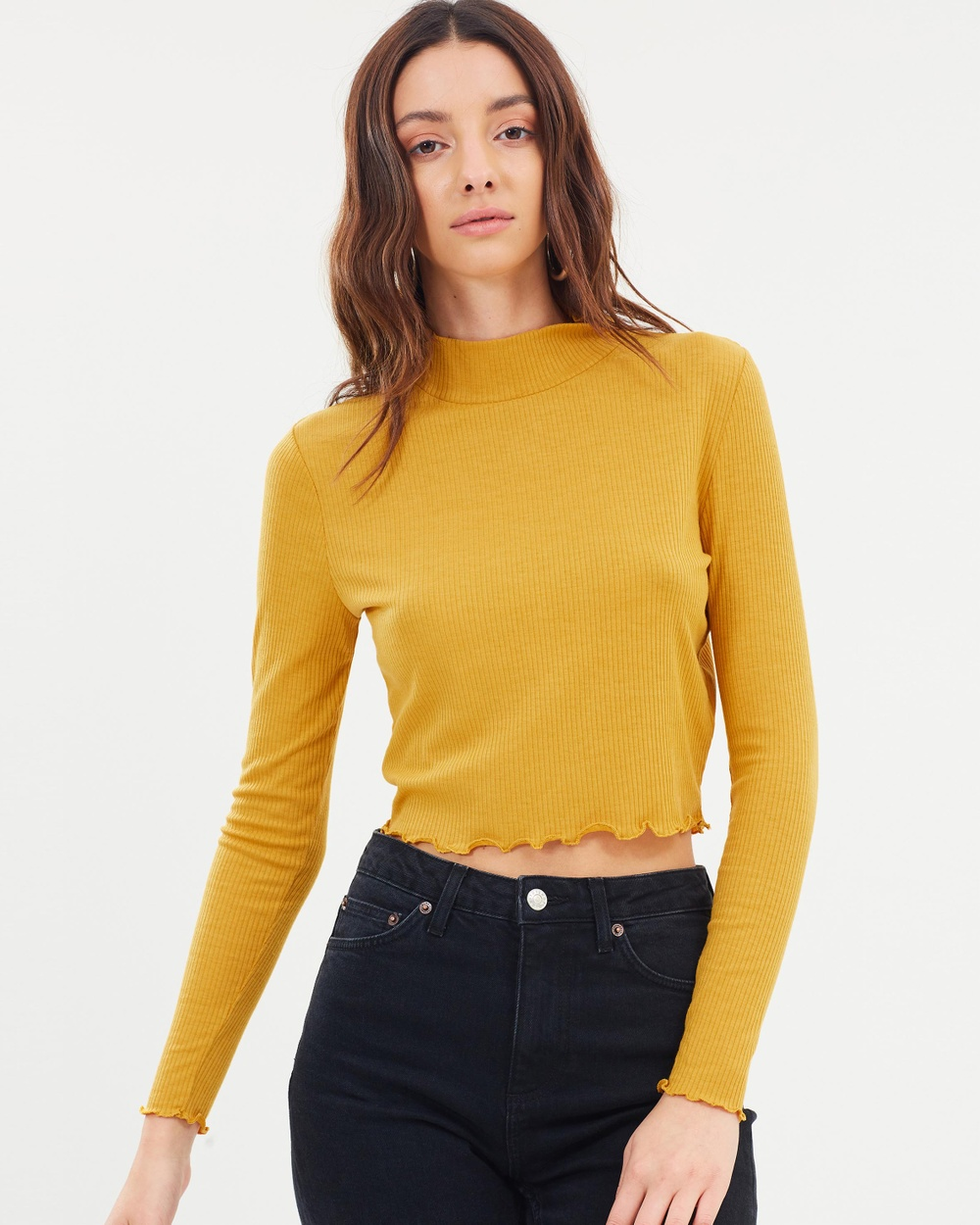 Cotton On Lylah Mock Neck Chop Top Cropped tops Golden Nugget Lylah Mock Neck Chop Top