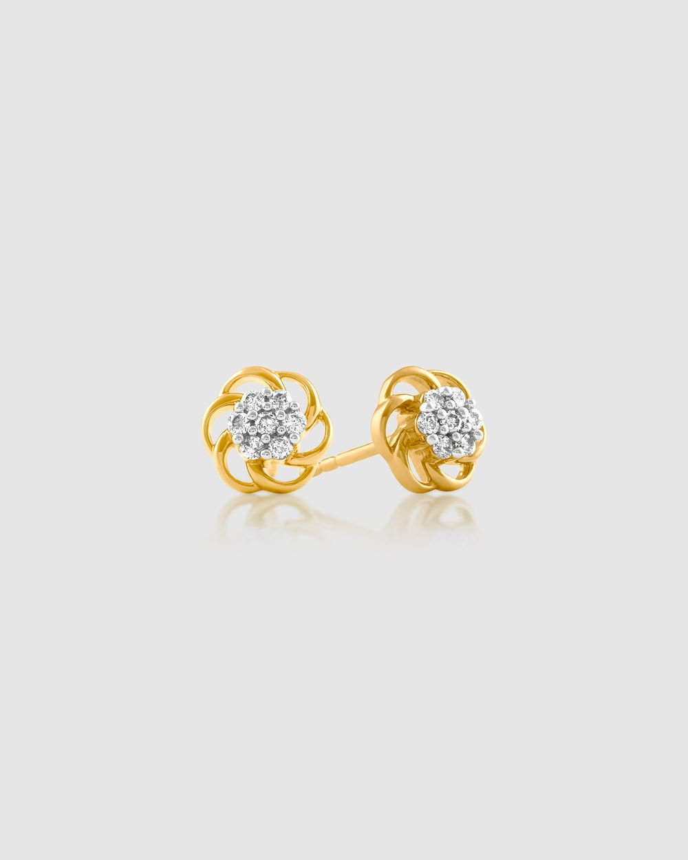 Michael Hill 0.10ct Flower Stud Earrings with Diamonds in 10ct Yellow Gold Jewellery Yellow