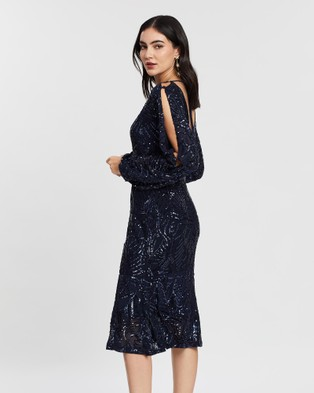 Alabaster The Label - Luminescence Sequin Sleeve Dress Dresses (Navy)