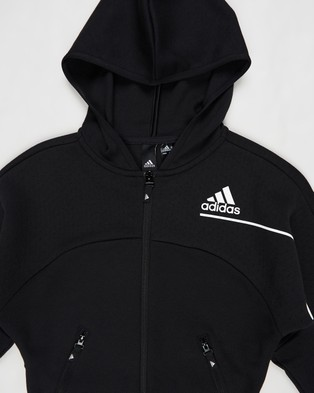 adidas Performance Z.N.E Loose Full Zip Hoodie   Kids Teens - Hoodies (Black & White)