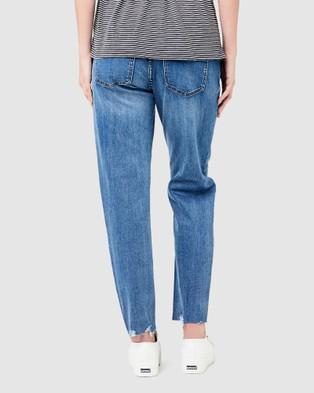 Ripe Maternity Jamie Raw Edge Jeans - Girlfriend (Blue)