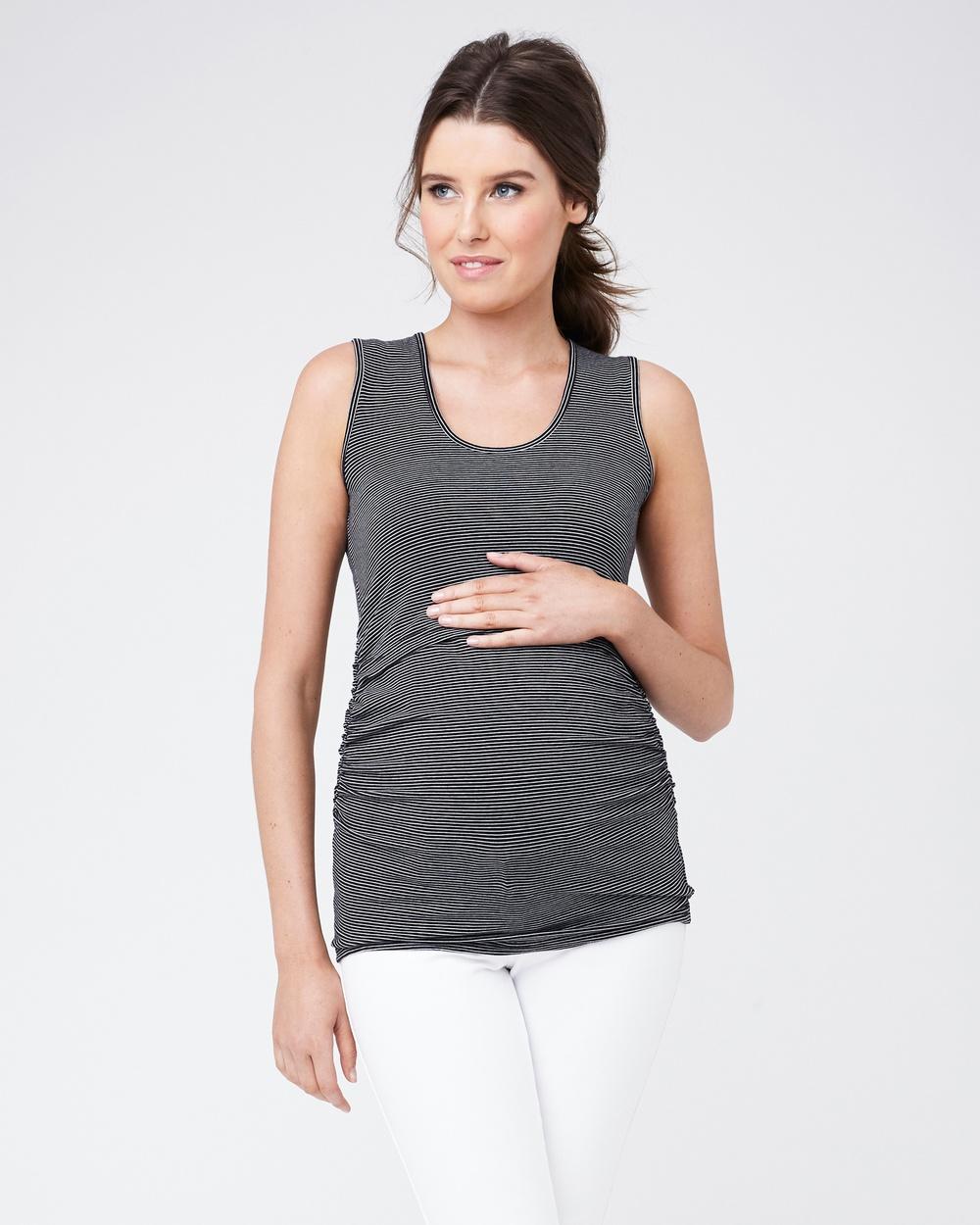 Ripe Maternity - Organic Stripe Nursing Tank - Tops (Black/White) Organic Stripe Nursing Tank