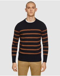 Oxford - Ben Striped Crew Neck Knit