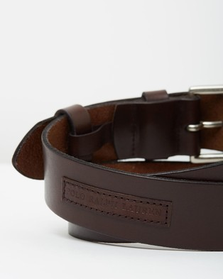 Polo Ralph Lauren Roller Buckle Leather Belt with Logo Patch - Belts (Brown)