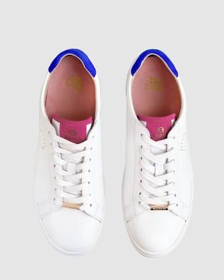 Bared Footwear Hornbill Sneakers   Women's - Sneakers (White Pink Snake & Blue)