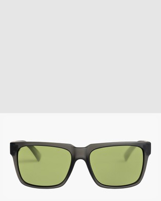 Quiksilver Mens Bruiser Sunglasses - Sunglasses (MATTE BLACK/GREEN)