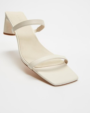 AERE Double Strap Leather Mule Heels - Sandals (Cream Leather)