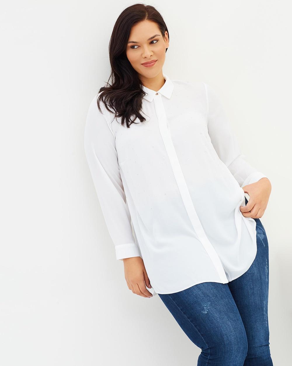 EVANS Embellished Shirt Tops Ivory Embellished Shirt