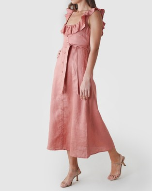 Amelius - Bohdi Linen Midi Dress - Dresses (Rust) Bohdi Linen Midi Dress
