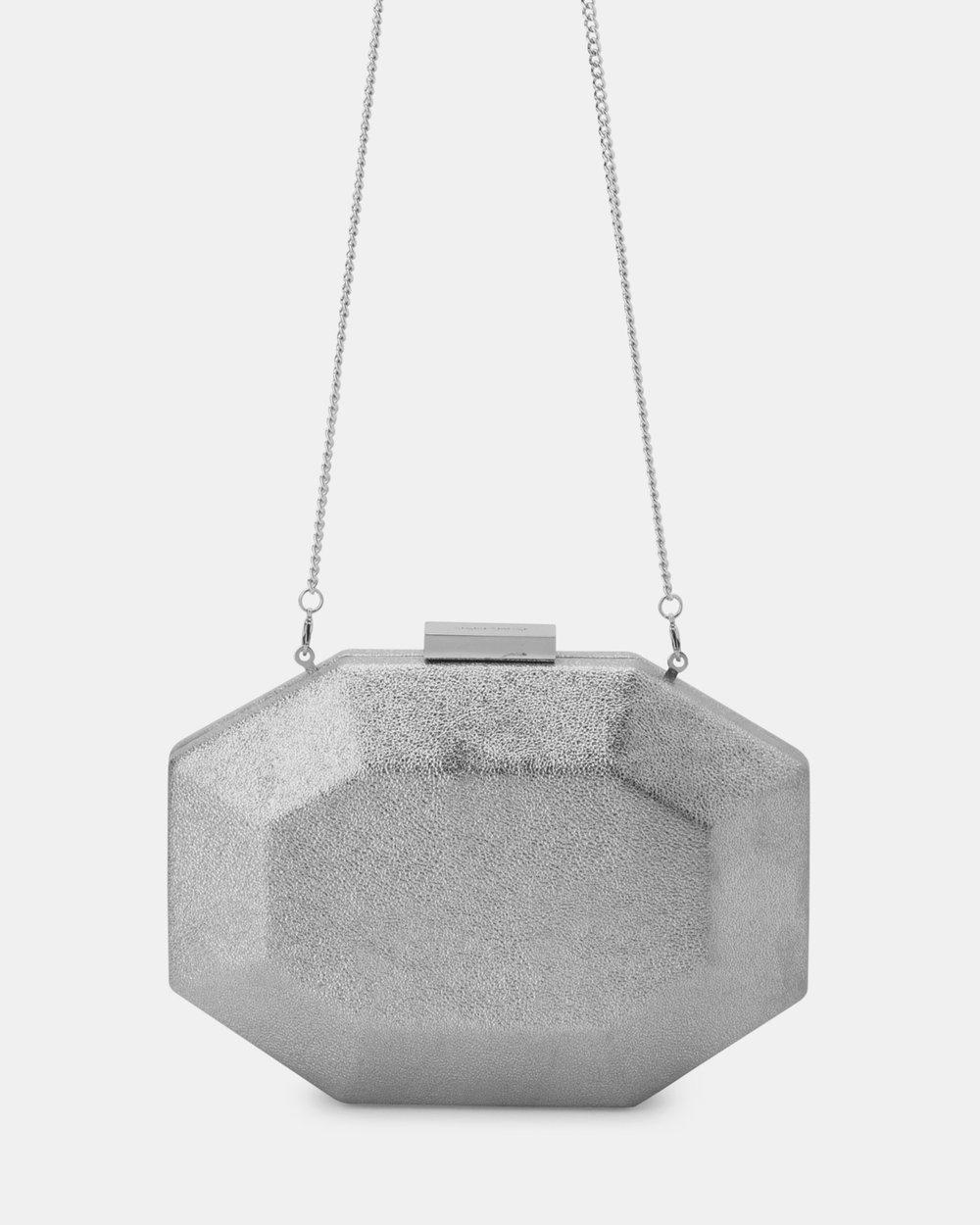Olga Berg GALACTIC Sparkle Clutch in Silver Bag
