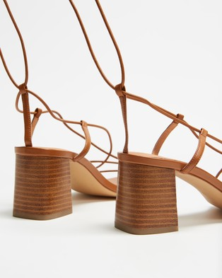 AERE Strappy Ankle Tie Leather Heels - Mid-low heels (Tan Leather)