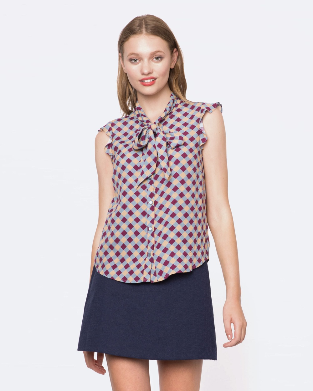 Princess Highway Katie Check Blouse Tops BLUE Katie Check Blouse