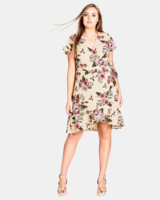City Chic – Lolita Wrap Dress – Printed Dresses Ecru