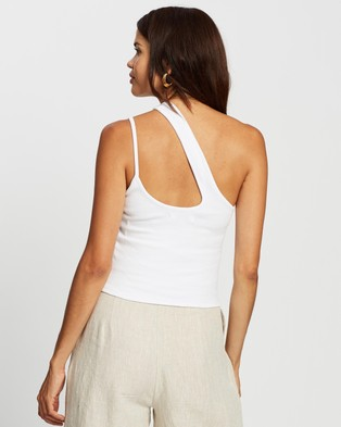 AERE Organic Cotton Asymmetric Tank - Tops (White)
