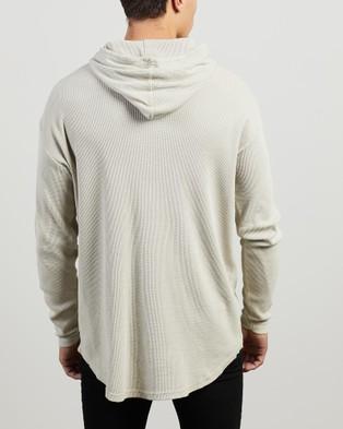 Silent Theory - Hooded Waffle LS Tee - Long Sleeve T-Shirts (BONE) Hooded Waffle LS Tee