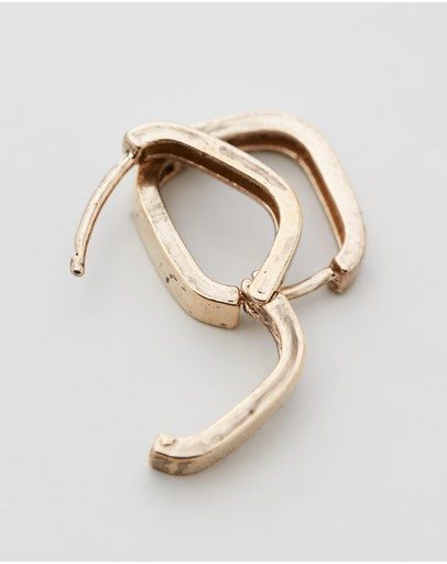 Wild For The Weekend Square Hoop Earrings Gold