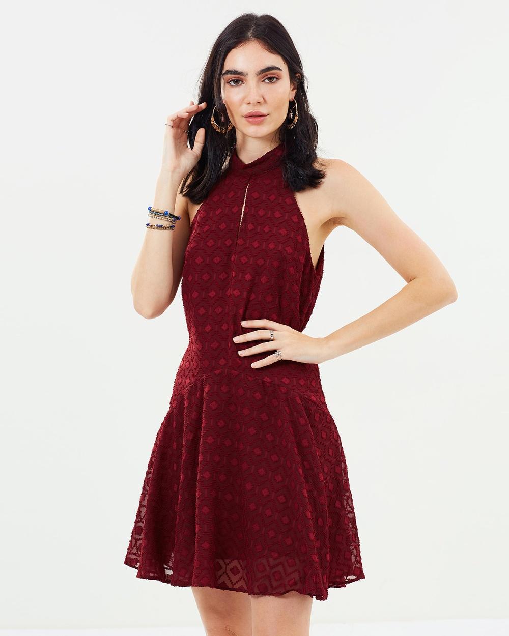 Dazie Burgundy Saona Keyhole Dress