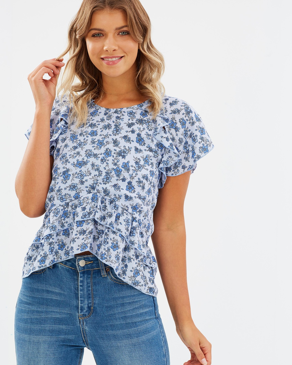 Atmos & Here ICONIC EXCLUSIVE Frances Flutter Top Tops Blue Floral ICONIC EXCLUSIVE Frances Flutter Top