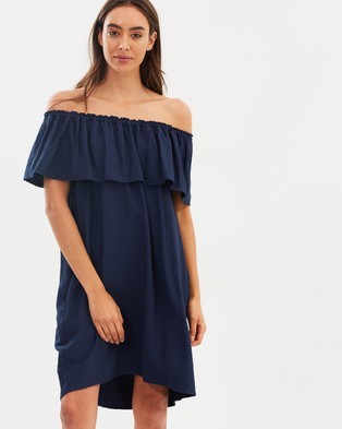 Decjuba – Ashlyn Off Shoulder Dress Mood Indigo