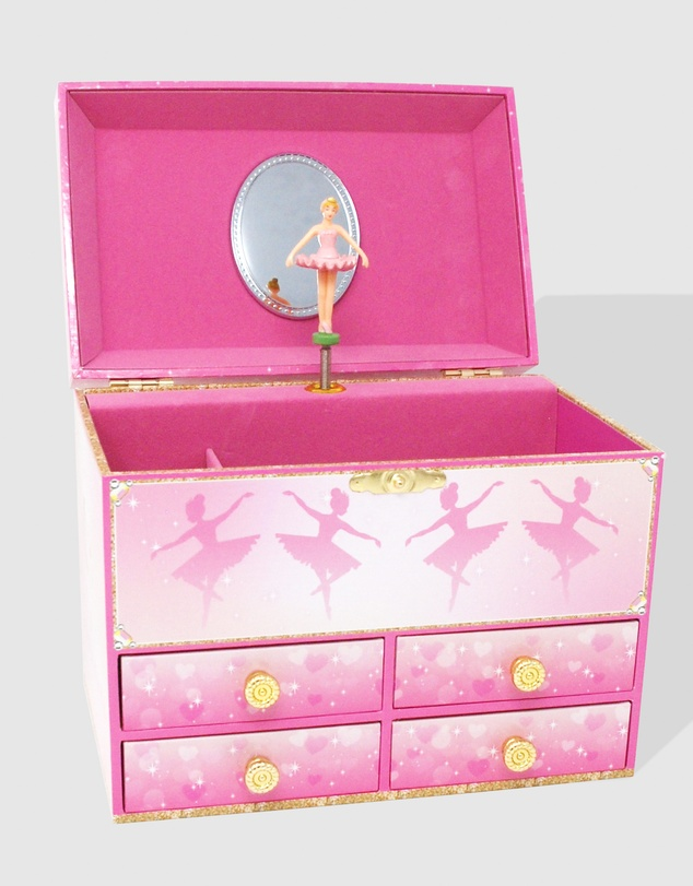 Kids Pirouette Ballet Girl's Pink Musical Jewellery Storage Box with Spinning Ballerina